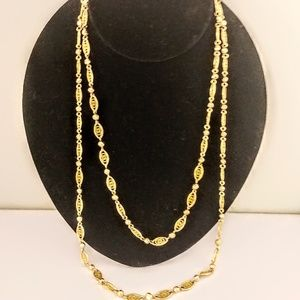 Cookie Lee Long Gold Necklace Double Jewelry